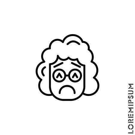 Sad and in a Bad Mood Emoticon girl, woman Icon Vector Illustration. Outline Style. Depressed, sad, stressed emoji icon vector, emotion, sad symbol. Modern flat symbol web and mobil apps