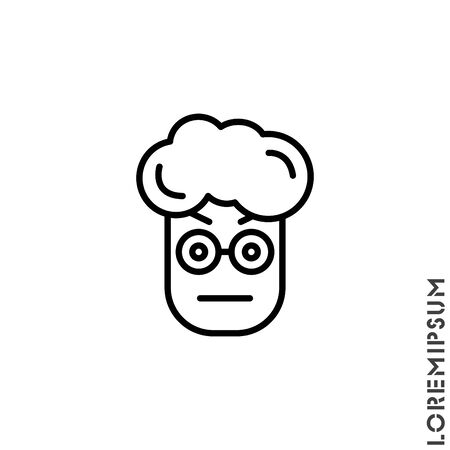 Confused Thinking Emoticon boy, man Icon Vector Illustration. Outline Style. Whatever Face Emoticon Icon Vector Illustration. Outline Style. Angry icon vector