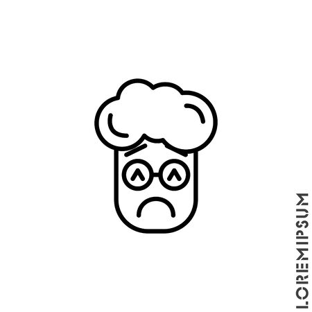 Sad and in a Bad Mood Emoticon boy, man Icon Vector Illustration. Outline Style. Depressed, sad, stressed emoji icon vector, emotion, sad symbol. Modern flat symbol web and mobil apps Illustration