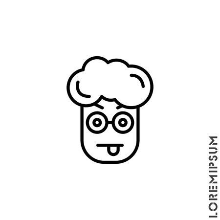Mocking teasing and angry boy, man icon. showing tongue and frowning eyebrows Emoticon Icon Vector Illustration. Outline Style. Vecteurs
