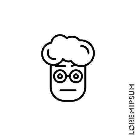 Confused Thinking Emoticon boy, man Icon Vector Illustration. Outline Style.