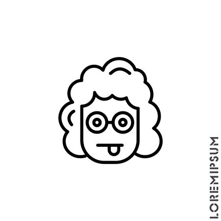 Mocking Funny Humor Emoticon girl, woman Icon Vector Illustration. Outline Style.