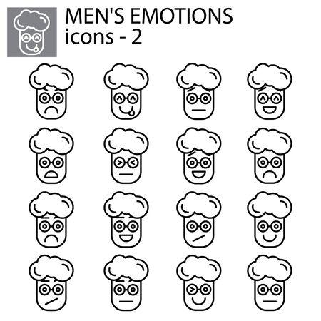 Creative vector icon set - boy, man Emoticons. Set of smiley icons: different emotions. Vector icons of smiley faces