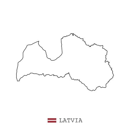Latvia map line, linear thin vector simple and flag. Black on white background Vettoriali