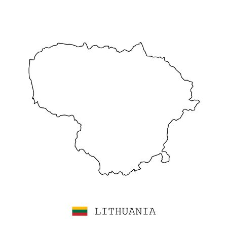 Lithuania map line, linear thin vector simple and flag. Black on white background