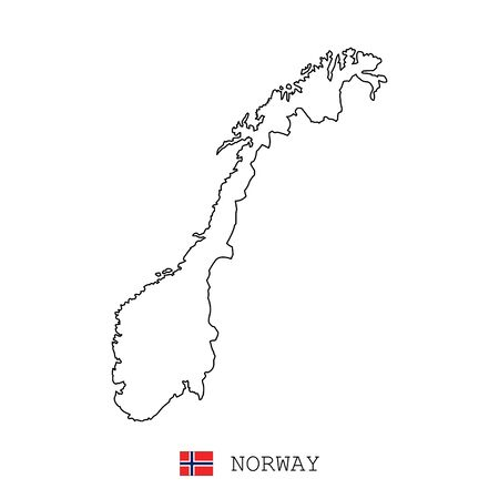 Norway map line, linear thin vector simple and flag. Black on white background