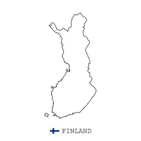 Finland map line, linear thin vector simple and flag. Black on white background