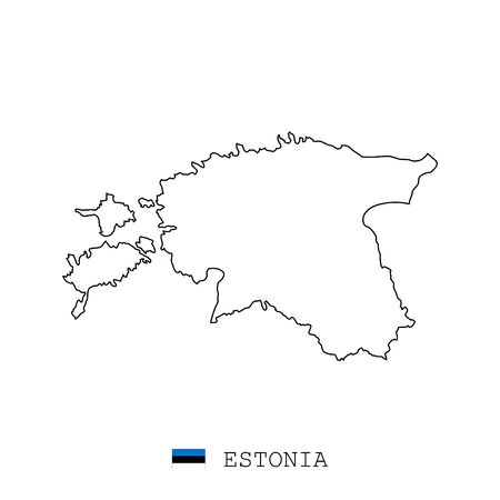 Estonia map line, linear thin vector simple and flag. Black on white background Vektorgrafik