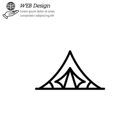 Camping Tourist Tent icon thin line, linear, outline.