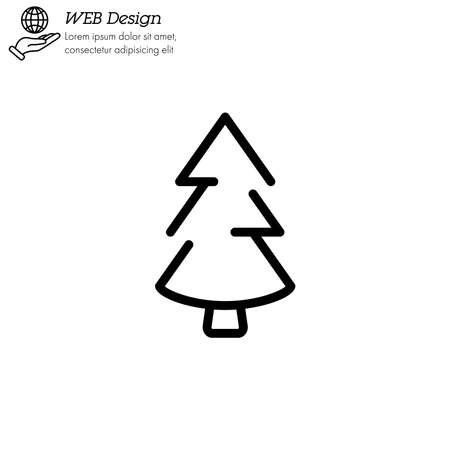 Christmas tree, fir-tree icon thin line, linear, outline.