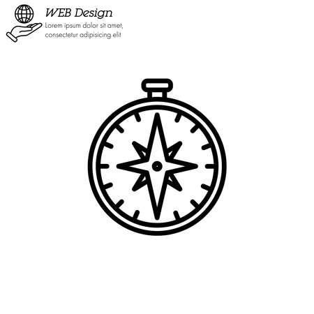 compass icon thin line, linear, outline. Vettoriali