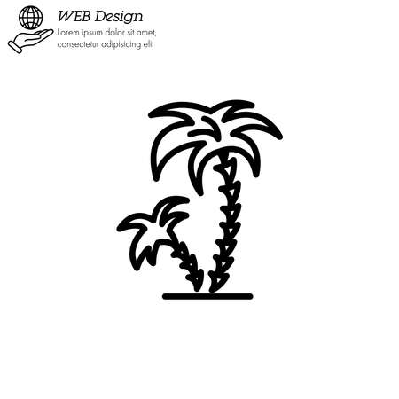 Palms tree icon thin line, linear, outline. palm coconut tree