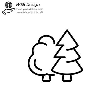 Deciduous and coniferous tree. Forest. icon thin line, linear, outline.