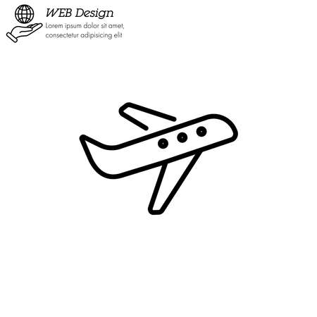 plane, airplane icon thin line, linear, outline.
