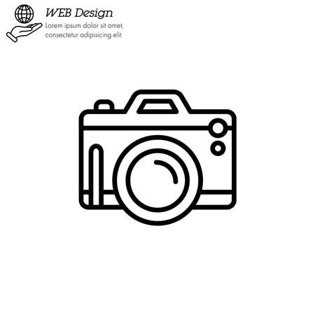Camera Photography icon thin line, linear, outline. pocket digital camera Simple sign, fotocamera  gadget