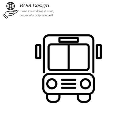 Bus icon thin line, linear, outline.  Bus sign. Transport image. Public Navigation symbol for info graphics, websites and print media. Line style image. Editable stroke. Vector