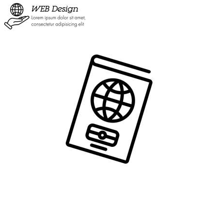 Passport icon thin line, linear, outline.   Foreign passport line icon. Visa, document, arrival. Customs house concept. citizenship, immigration, traveling Çizim
