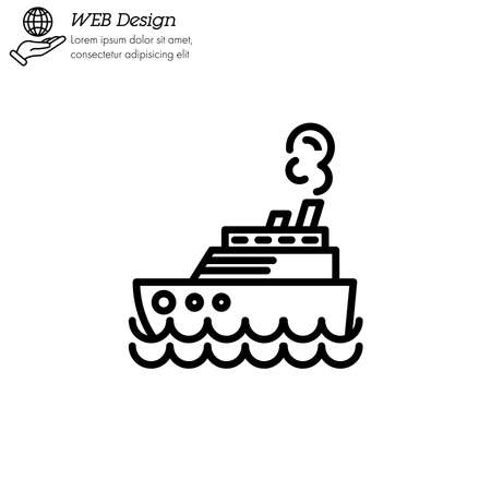Steamship, steamboat, Cruise sea ship icon thin line, linear, outline.