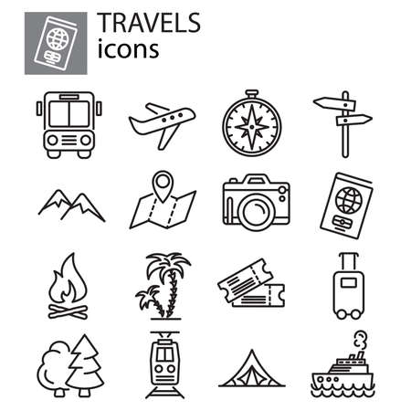 Travel, vacation and camping icon set thin line, linear, outline sign, symbol,  black on white background