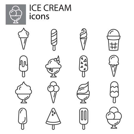 Ice cream icon set, ice lolly set symbol, dessert or sweetness in cup icon thin line, linear, outline.