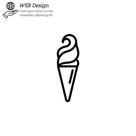 Ice cream in waffle cone icon thin line, linear, outline.