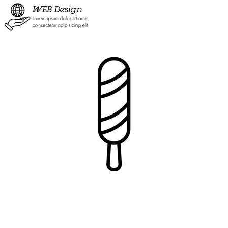 Ice lolly, ice cream icon thin line, linear, outline. Simple sign Illustration