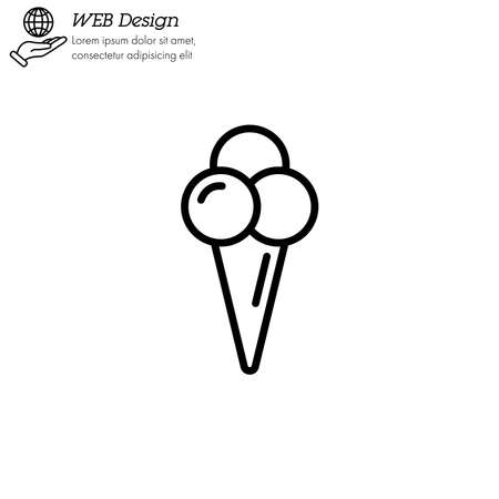 Ice cream in waffle cone in shape three balls icon thin line, linear, outline.