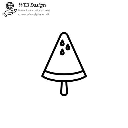 Ice lolly watermelon, ice cream icon thin line, linear, outline. Illustration