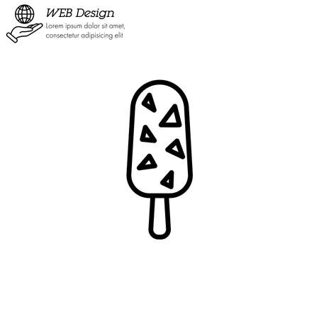 Ice lolly, ice cream icon thin line, linear, outline.