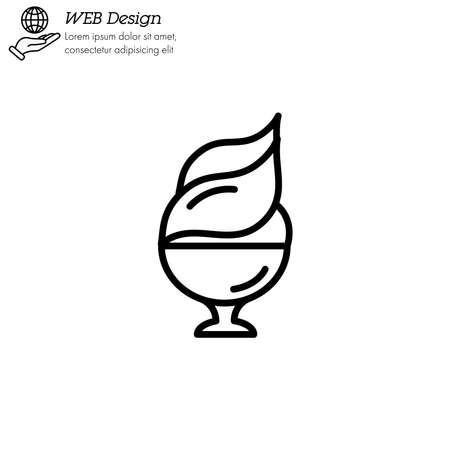 Ice cream in cup icon thin line, linear, outline. dessert or sweetness in glass. Illustration
