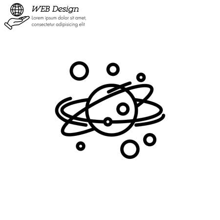 solar system icon thin line, linear, outline vector. solar system simple sign . planets revolve around the star Illustration