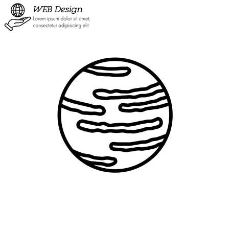 Neptune planet icon thin line, linear, outline vector. Neptune planet simple sign Illustration