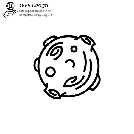Moon astronomical body icon thin line, linear, outline vector.