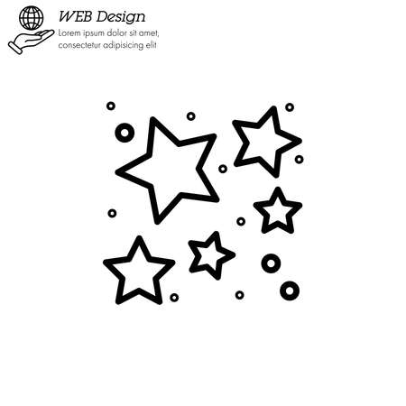star cluster icon thin line, linear, outline vector.