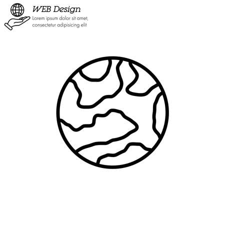 Mercury planet icon thin line, linear, outline vector. Illustration
