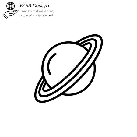 Saturn planet icon thin line, linear, outline vector.