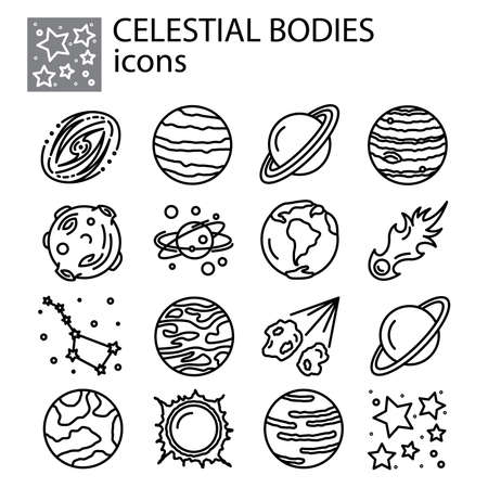 celestial bodies, planets, meteorites, solar system, comets, stars set icon thin line, linear, outline. celestial bodies, planets, meteorites, solar system simple sign, galaxies, space   symbol