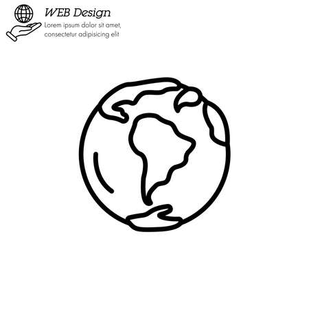 planet Earth icon thin line, linear, outline vector. planet Earth simple sign . World icon isolated. Illustration