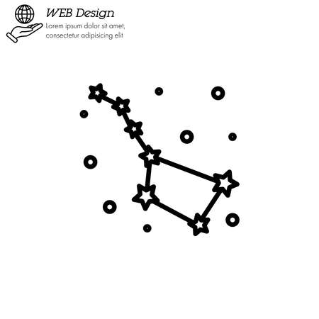 Constellation Ursa Major (Big Dipper, Great Bear) icon thin line, linear, outline vector. Constellation Ursa Major (Big Dipper, Great Bear) simple sign . Illustration