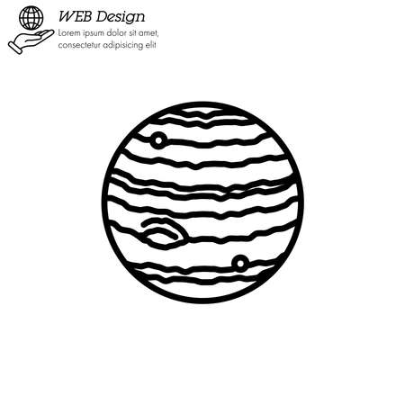 Jupiter planet icon thin line, linear, outline vector. Jupiter planet simple sign