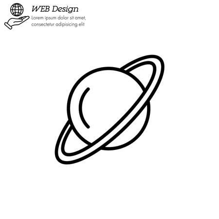 Uranus planet icon thin line, linear, outline vector. Uranus planet simple sign Illustration