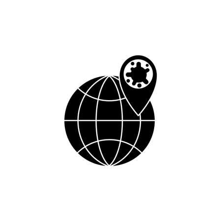 Virus, bacteria, map pointer and globe icon, symbol, sign. coronavirus, COVID-19 icon, logo black on white background. 2019-ncov