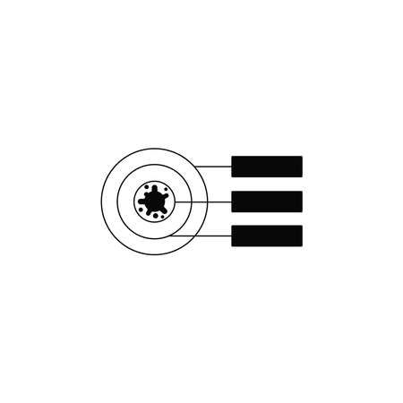 Virus, bacteria and infographics (schedule, chart, graph) icon, symbol, sign. coronavirus, COVID-19 icon, logo black on white background. 2019-ncov simple