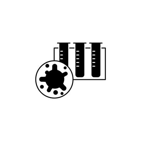 Virus, bacteria and test tubes icon, symbol, sign. coronavirus, COVID-19 icon, logo black on white background. 2019-ncov simple