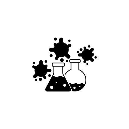 Virus, bacteria and flask, bulb icon, symbol, sign. coronavirus, COVID-19 icon, logo black on white background. 2019-ncov simple