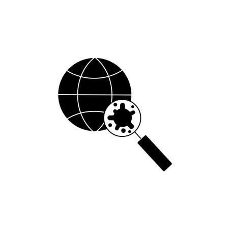 Virus, bacteria through a magnifying glass on globe icon, symbol, sign. coronavirus, COVID-19 icon, logo black on white background. 2019-ncov Illustration