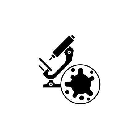 Virus, bacteria and microscope icon, symbol, sign. coronavirus, COVID-19 icon, logo black on white background. 2019-ncov simple