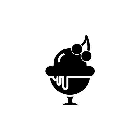Ice cream with cherry in cup icon. dessert or sweetness in glass. simple sign, logo