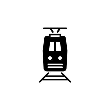 Train icon front view. Simple sign, logo. Illustration