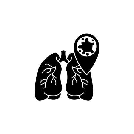 Virus, bacteria and lungs icon, symbol, sign. coronavirus, COVID-19 icon, logo black on white background. Illustration